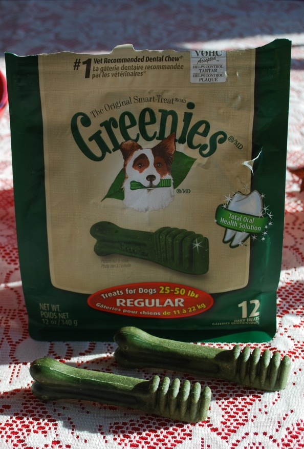 You can see someone was very happy to get Greenies. (hole in bag)
